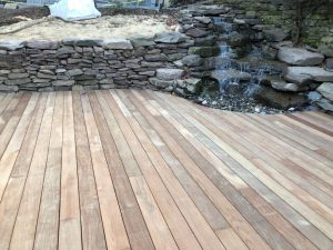 Pondless waterfall with deck