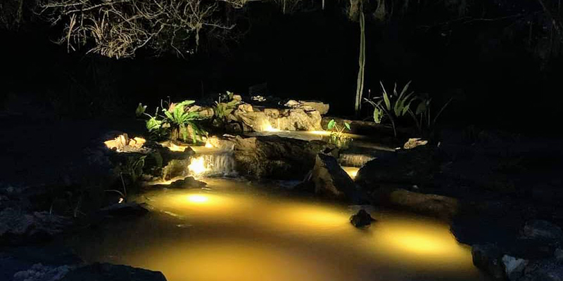 Backlit-Pond-and-Waterfalls