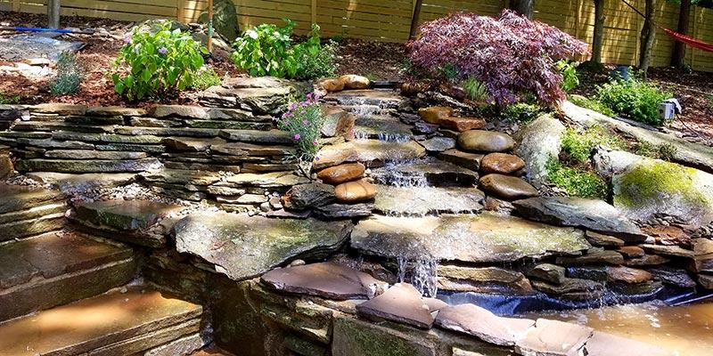 Backyard-Stream,-Waterfall-and-Pond-Complex
