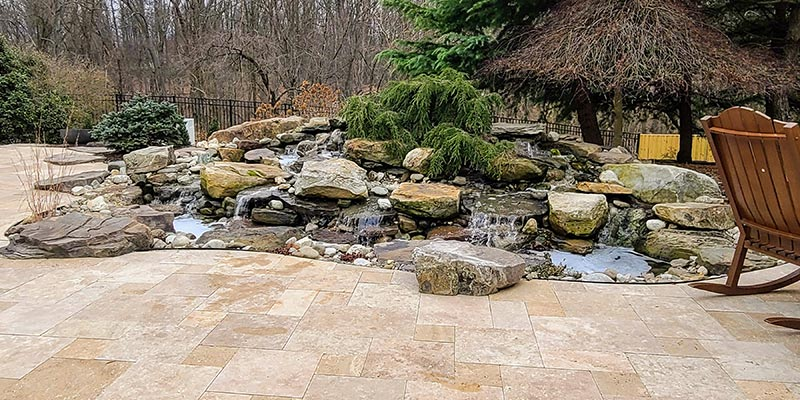 Natural Pondless Stream and Stone Deck